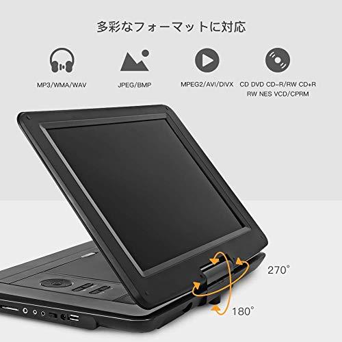 APEMANポータブルDVDプレイヤー15.5インチ超大画面HD高画質液晶スクリーン270度回転式5000mAh大容量充電バッテリー長時間連続放送可能リージョンフリー携帯式リモコン/日本語取説【新機種】