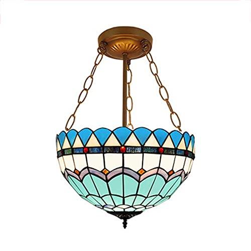 AMAFS Tiffany Style Chandelier Retro Lámpara Colgante Luces Single Head Luz LED Dormitorio Vidrio Comedor Dormitorio Sala de Estar Lámpara de suspensión/Lámparas de techo-azul-20 Happy House