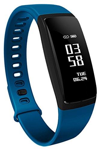 Smart Fitness Bluetooth Deporte Reloj Monitor de Ritmo cardíaco podómetro Cuenta atrás cronómetro Azul