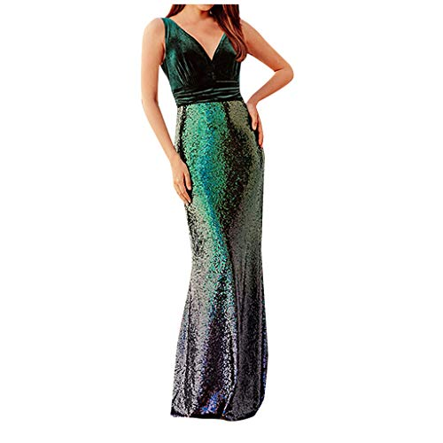 Fantastic Prices! jin&Co Womens Sequins Maxi Dresses Sleeveless Deep V-Neck Slim Fit Sexy Party Ev...