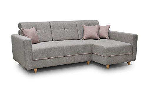 Ecksofa Sofa Eckcouch Couch mit Schlaffunktion und Bettkasten Ottomane L-Form Schlafsofa Bettsofa Polstergarnitur - TUCSON (Ecksofa Rechts, Dunkelgrau)