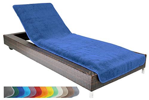 Brandsseller Schonbezug für Gartenliege, Strandliegenauflage, Frottee Schonbezug, 100% Baumwolle - ca.75x200 cm - Blau