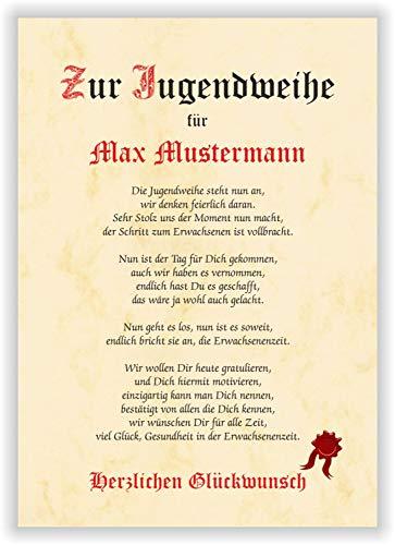 Urkunde als Geschenk zur Jugendweihe - Geschenkurkunde personalisiert - mit Name toller Spruch Karte Gedicht Party Deko