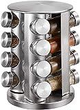 Especiero 16 Tarros De Vidrio Especiero De Acero Inoxidable Carrusel Giratorio De 360 ° Para Almacenamiento De Especias Cocina, Barbacoa