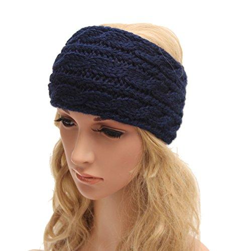 TININNA Serre-tête Bandeau Bande de Cheveux Hiver Tricoté Laine Turban Elastique Couvre-Oreille Head Wrap Chapeaux pour Femme Fille Navy Bleu