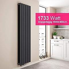EMKE Verticale radiator Design Panel Radiator 1800x460mm Antrazite Flat Double Layer Middenverbindingverwarming, 1733W*