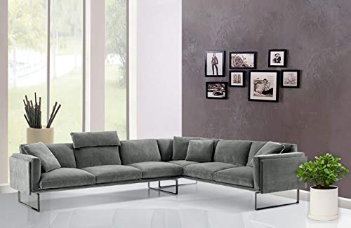 PUG – Classy, Puffy, 5 Seater, Wide, Luxury, Ultra Premium, Italian Designer Sectional Sofa Set. 5 Years Warranty. Deep Comfortable Sitting/Laying Down. for Living Room/Office. Color – Pewter Grey