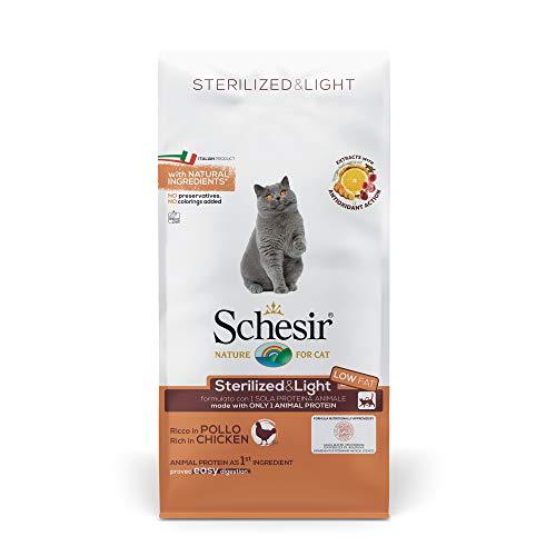 Schesir, Cibo Secco per Gatti Adulti Sterilizzati o in Sovrappeso Linea Light al Gusto Pollo, Crocchette - Formato Sacco da 10 kg