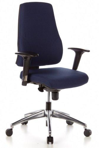 hjh OFFICE 608010 Profi Bürostuhl PRO-TEC 200 Stoff Blau Drehstuhl ergonomisch, Arm- & Rückenlehne höhenverstellbar
