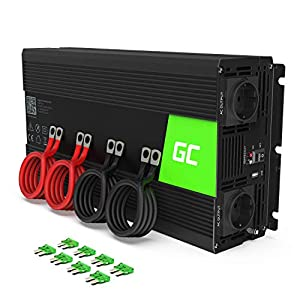 Green Cell® 2000W/4000W 24V a 220V/230V Onda sinusoidal Pura Inversor de Corriente DC AC Power Inverter Transformador de Voltaje para Coche Camion con Puerto USB y Pinzas de conexión a batería