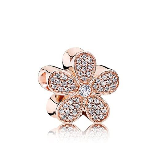 ZHANGCHEN Dijes de Oro Rosa crial con Cinco pétalos de Flores, Joyas de Perlas, Pandora, Cadena de Serpiente, 3 mm, Regalo para Mujer