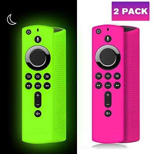 [2 unidades] Carcasa de silicona para Fire Stick 4k, cubierta para Fire Stick, Fire Stick con mando a distancia para Fire TV (3 generación)/Fire TV Cube (brillo verde)