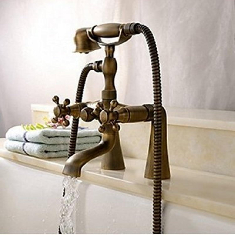 Galvanik Retro Wasserhahn moderne Deck montiert Messing antik Badezimmer Dusche Badewanne Armatur Dual Griffe Mixer, Klar