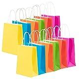 Juvale Bolsas de regalo – Bolsas de regalo a granel de colores neón con asas, bolsas de papel de tamaño pequeño, rosa fucsia, rojo, azul, verde, naranja, amarillo, 16 x 7,8 x 21,8 cm