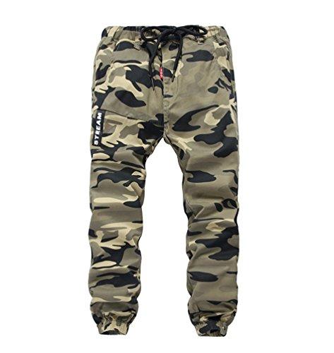 YoungSoul Hosen für Jungen Jogginghose Camouflage Kinder Jungs Cargohose mit Gummizug Gelb(Regular Fit) Größe 150/140-146