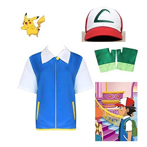 CHANGL Ash Ketchum Kinder Cosplay Kostüm Blaue Jacke + Handschuhe + Hut Ash Ketchum Kostüme Erwachsenenkostüm