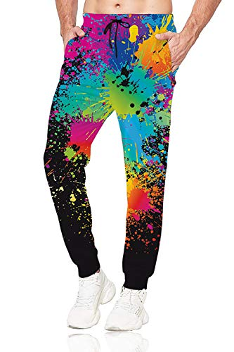 Belovecol Colorful Jogger Pants for Mens 3D Printed Rave Sweatpants Ink Splash Pant Casual Drawstring Novelty Track Trousers M
