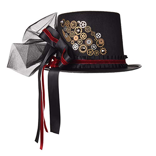 Material: felt, gears, veil Head circumference 58cm-61cm Top hats with gears, velvet, ribbons, veil, bowknot, black hat Steampunk accessories, gothic punk hat, victorian top hat, lolita hat, medieval renaissance hat, veil hat, witch hat, vampire hat ...