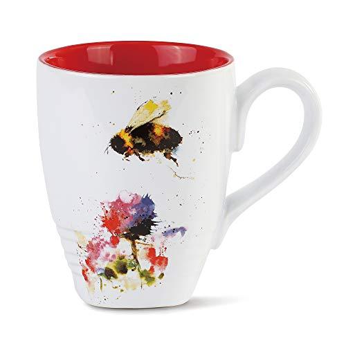 DEMDACO Dean Crouser Watercolor 16 ounce Glossy Stoneware Mug (Bumblebee Nature)