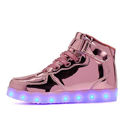 Vansney Jungen Mädchen Kinder LED Licht Schuhe High-top Low-top Velcro Kinderschuhe Lauf Skateboard Turnschuhe Nacht Reise