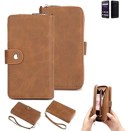 K-S-Trade 2in1 Handyhülle Für ZTE Blade V8 64 GB Schutzhülle und Portemonnee Schutzhülle Tasche Handytasche Hülle Etui Geldbörse Wallet Bookstyle Hülle Braun (1x)