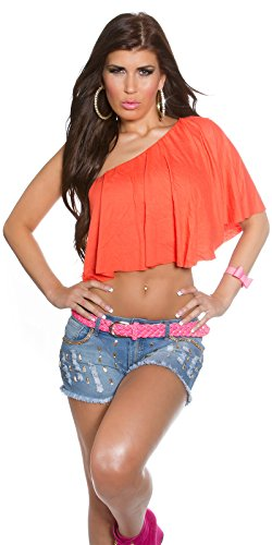 Koucla Sexy One Shoulder Crop Top Coral Capuchino Pink Black White Neon Pink Mint Neon Green Red coral Tallaúnica