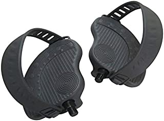 ( PAIR-Left+Right ) Deluxe BIKE Pedals - w/Straps for Shaft Size 9/16