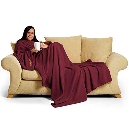 Snug Rug Deluxe en Polaire la Couverture avec Manches pour Adulte, mûre 60 x Porte, 214 x 152cm (Mulberry Red)