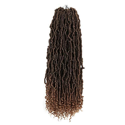 20 inch 6 pack Nu Faux Locs With Curl End Natural Wavy Goddess Locs Crochet Hair Extensions Synthetic Braiding Hair (20inch,6pack, T27)