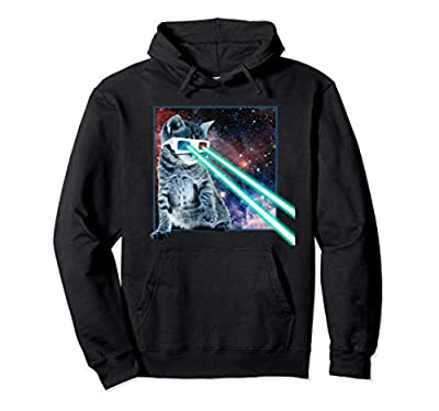 Laser Eye Cat | 3D Glasses | Kitty Galaxy Space Xmas Gift Pullover Hoodie