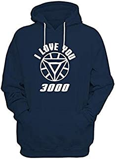 WearIndia I Love You 3000 Printed Unisex Pullover Cotton Hoodies Sweatshirt for Men and Women/Printed Multicolor Hoodie/Graphic Printed Hoodie/Hoodie for Men & Women/Warm Hoodie/Unisex Hoodie