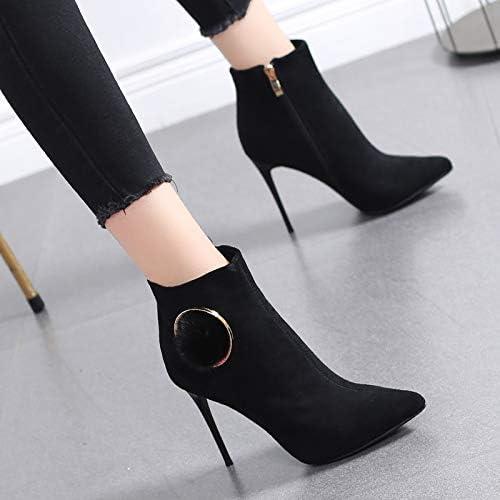 HRCxue zapatos de la Corte Moda Sexy tacón Alto Multa de mujer con botas Martin Hembra negro Salvaje botas Pequeñas