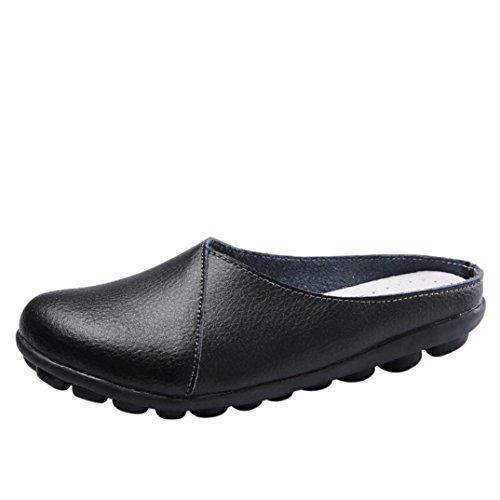 Ansenesna Sandalen Damen Sommer Leder Flach,Vorne Geschlossen Hinten Offen Stoff Vintage Outdoor Sommerschuhe (40, Schwarz)