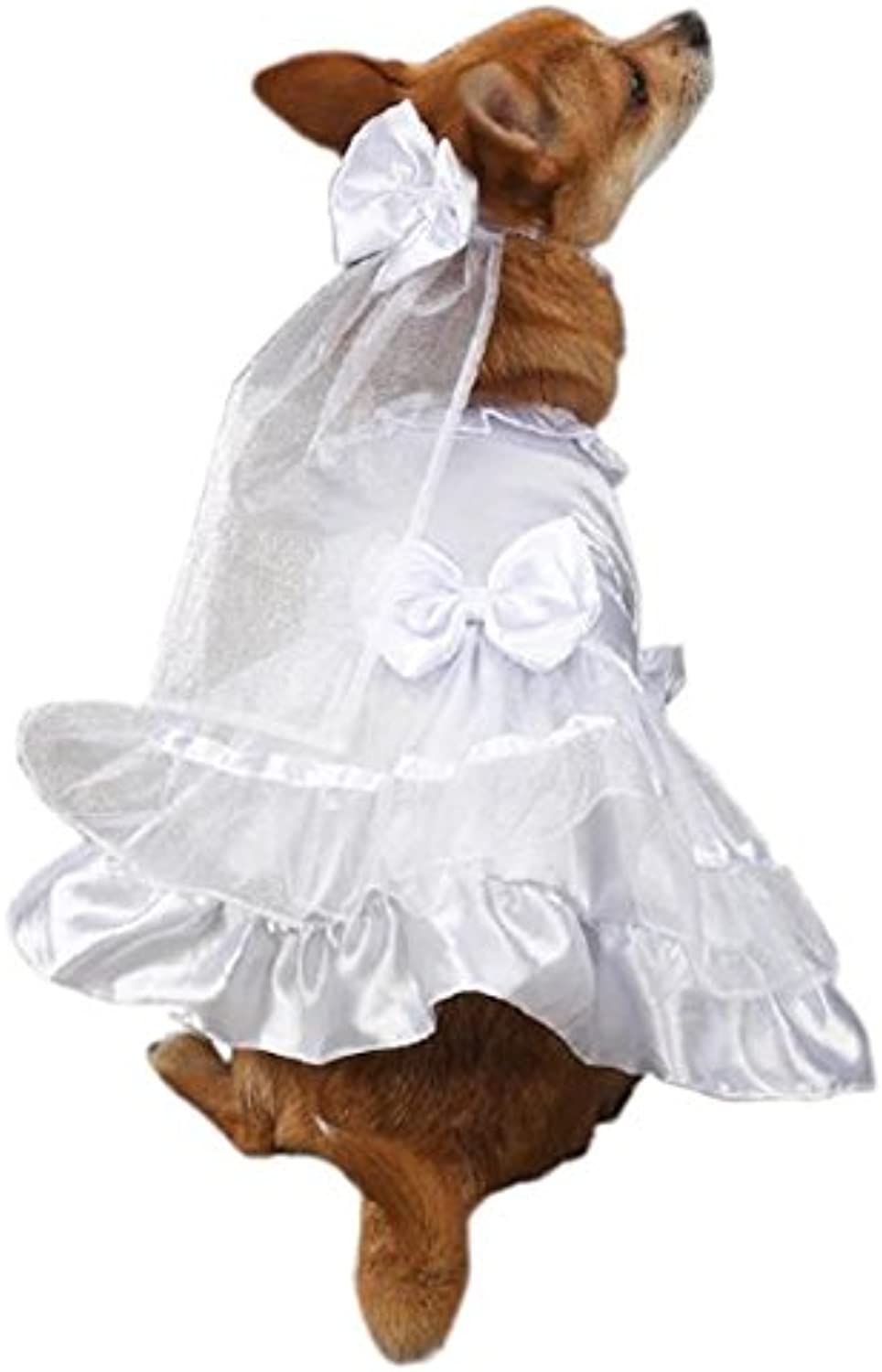 East Side Collection Polyester Yappily Ever After Dog Wedding Dress, XSmall, 10Inch, White