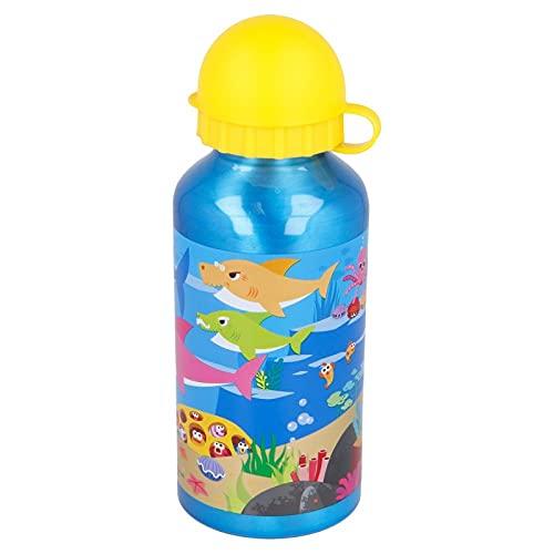 Baby Shark - Borraccia sportiva in alluminio, 400 ml, per vacanze, rientro a scuola, acqua per bambini