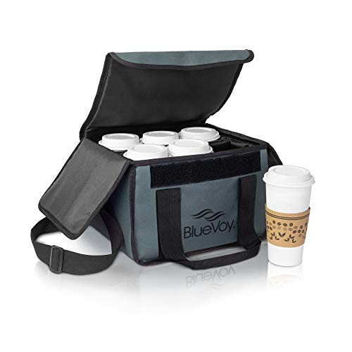 Reusable Drink Carrier for Delivery and Food Delivery Bag | Drink Holder Works as a Travel Coffee Carrier To Go, Drink Caddy Bag, Cup Carrier Tote and Drink Carrier with Handle and Removable Dividers