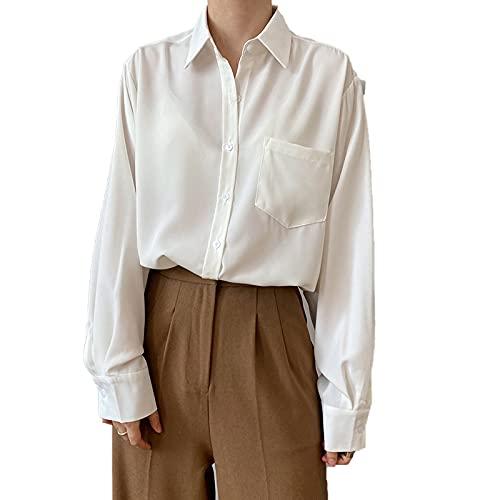 shirts Mujeres Verano Otoño Moda Manga Larga Color Sólido Bolsillo Elegante Gasa Simple Oficina Señora Casual Francia Romántica Blusa