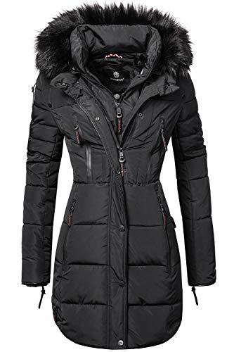 Marikoo Damen Winter Mantel Steppmantel Moonshine (vegan hergestellt) Schwarz Gr. XL