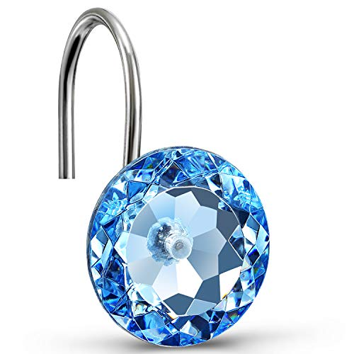 CHICTIE Blue Shower Curtain Hooks Rings Diamond,Set of 12 Bling Crystal Decorative Shower Curtain Hooks,Stainless Steel Rust-Proof Round Rhinestones Shower Rings Hangers for Bathroom Curtains Rods