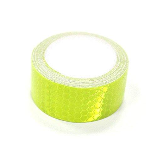 Tuqiang® Bande Réfléchissant Adhésif pour Véhicules Vêtements Sac à Dos Haute visibilité Ruban Sécurité extérieure Autocollant réfléchissant 1 Pièces Vert Fluorescent 3M×2.5CM