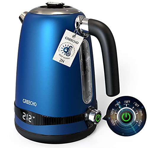 GREECHO Electric Kettle, 7-Gear Electric Kettle Temperature Control (Boil & Keep Warm) with LED Display, 1.7L Electric Tea Kettle, 304 Stainless Steel Electric Kettle for Boiling Water, Blue (1100W)