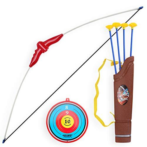 MAJOZ0 Kinder Pfeil und Bogen Set, Bogenschießen Spielzeug mit 4 Starken Saugnapfpfeilen und Zielscheibe, Ab 3 Jahre