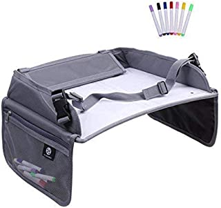 Kid's Car Seat Travel Tray – Dry Erase Lap Table with Markers and Mesh Pockets – Keep Children and Babies Occupied – by K4 Dynamics