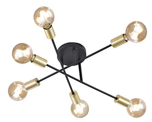 Trio Leuchten 606700632 Cross A++ to E, Deckenleuchte, Metall, E27, Schwarz matt, 56.6 x 56.6 x 19.11 cm