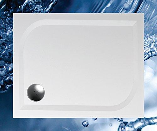 Duschwanne 100x80 Mineralguss - Mineralgussbecken 80x100 x1,7 cm, Weiss