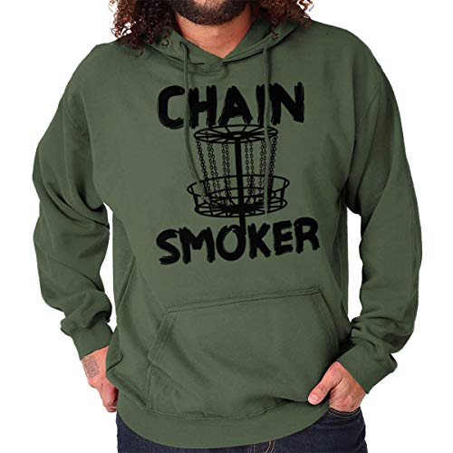 Chain Frisbee Golf Funny Sports Pun Gym Hoodie Military Green