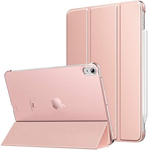 MoKo Etui pasuje do nowego iPada Air 4 etui 26 cm, iPad Air 4. generacji 2020-wąski lekki stojak pokrowiec z półprzezroczystym matowym ochraniaczem na tył do iPada Air 4, automatyczna budzenie / spanie, różowe złoto