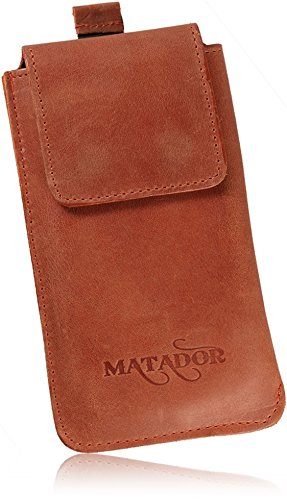 MATADOR® Vertikal-Tasche Gürteltasche kompatibel mit Samsung Note 10 Plus / S20 Ultra Echt Leder Magnetverschluss Ausziehhilfe Gürtelclip/Schlaufe(Konjak Braun)