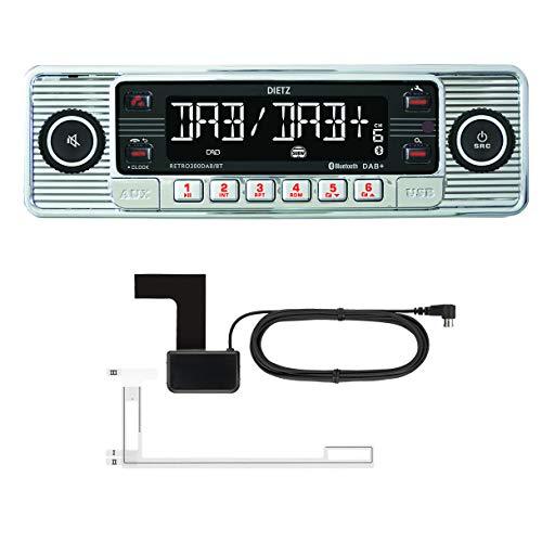 DIETZ Retro 300 DAB/BT Classic/Oltimer Autoradio USB/MP3/BLUETOOTH - Farbe Silber - inkl. DAB+ Antenne