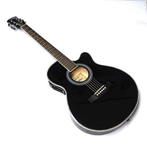 LOIKHGV Gitarre Akustik Elektrische Stahlsaite Balladry Folk Pop Dünner Körper Flattop 40 Zoll Guitarra 6 Saite Schwarzlicht Cutaway Electro, 40 Zoll